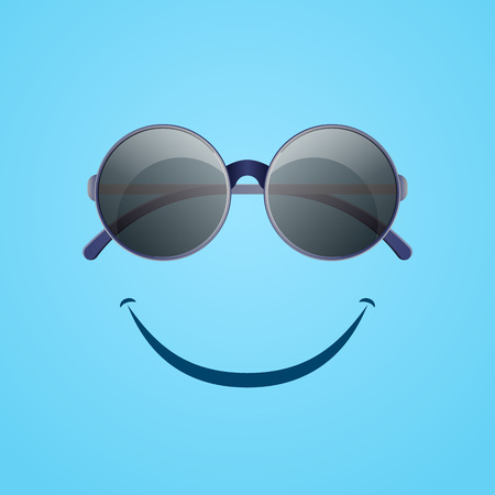 Summer rest poster with round sunglasses and happy smile symbol. Elegant eyeglasses, fashion accessory vector illustration. Summer beach vacation, travel and relaxation concept in flat style.
