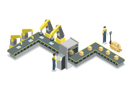 Isometrische Ikone 3D der modernen Gurtfertigungsstraße. Industriegüterproduktion, mechanischer Fördererherstellungsprozess, Fließbandvektorillustration.