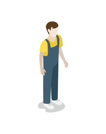 Factory worker in uniform isometric 3D icon. Industrial production, manufacturing process vector illustration.