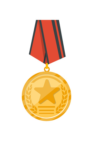 Golden medal with red ribbon isolated on white background. Champion achievement medallion, award ceremony label, victory prize sticker, winner trophy vector illustration.