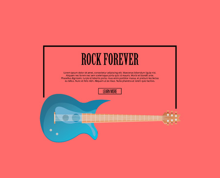 Rock forever poster with blue classic acoustic guitar in flat style. Music shop banner or musical rock-n-roll festival symbol.