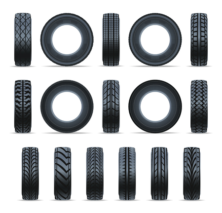 Realistic car tire icon collection. Front and side view black rubber tire isolated on white background. Consumables for car, auto service concept, wheel vehicle symbol.