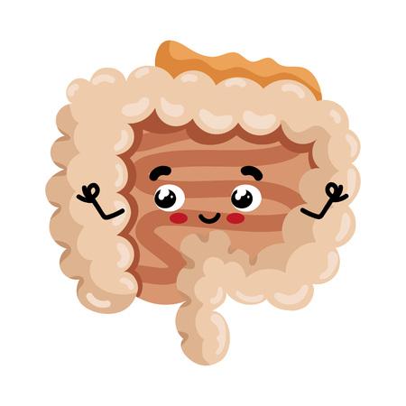 Human intestine cute cartoon character vector illustration