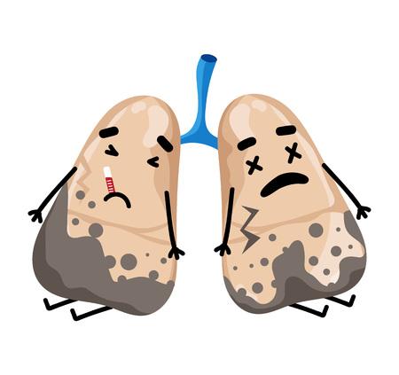 Sad sick lungs cartoon character vector illustration