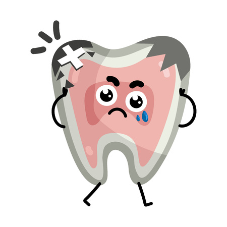 Sad sick tooth cartoon character. Body anatomy element, health medical sign, internal organ, human body physiology isolated on white background vector illustration.