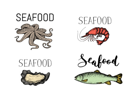 Seafood vintage hand drawn icon set vector illustration