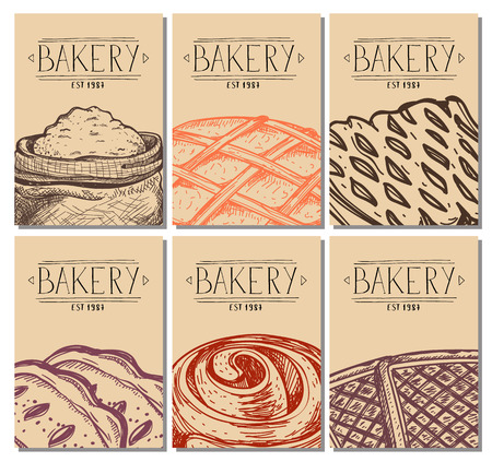 Bakery hand drawn restaurant menu cover. Sweet pastry market advertising, handmade bread product shop banner, traditional natural food vector illustration. Puff, pie, bagel and cookie sketches