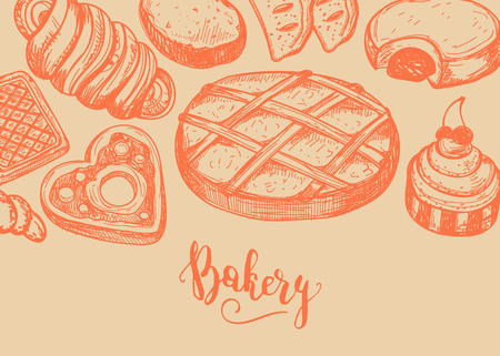 Homemade bakery product vintage background. Sweet pastry market advertising, bread product poster, traditional natural food vector illustration. Puff, pie, bagel, cookie hand drawn sketches
