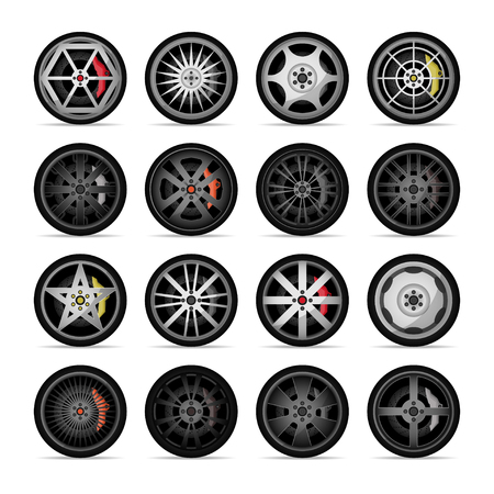 Car titanium rim icon collection. Front and side view sports racing car wheels isolated on white background vector illustration. Consumables for car, auto service concept, wheel vehicle symbol.
