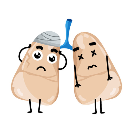 Human Sick Lungs Cartoon Character Body Anatomy Element Health