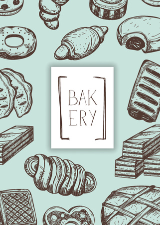 Homemade bakery product vintage banner. Sweet pastry market advertising, bread product poster, traditional natural food illustration.