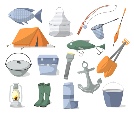 Fishing icons set in cartoon style. Tourist tent, anchor, fishhook, float, fishing rod, paddle,  flashlight, rubber boots, camp boiler, cooler box symbols. Fisher equipment vector illustration Illustration