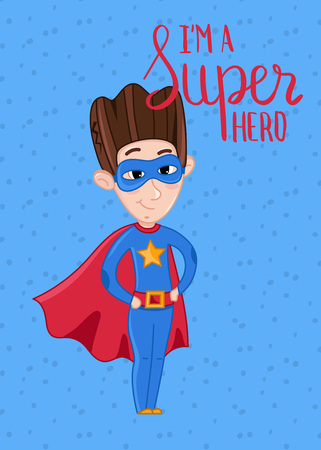 Super hero kids postcard with boy in superman costume and red cloak. Cute greeting card, birthday congratulation, event invitation. Interesting children life, happy childhood vector illustration.
