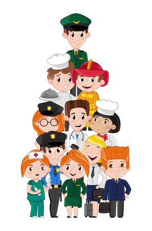 Greeting card template with children in professional costumes vector illustration Illustration