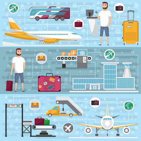 Passenger airline set in flat style. Civil aviation infrastructure elements. Jet plane, conveyor with luggage scanner, airport terminal, tourist man with baggage, passenger ladder vector illustration.