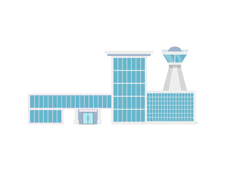 Airport terminal with flight control tower icon. Air passenger infrastructure vector illustration.