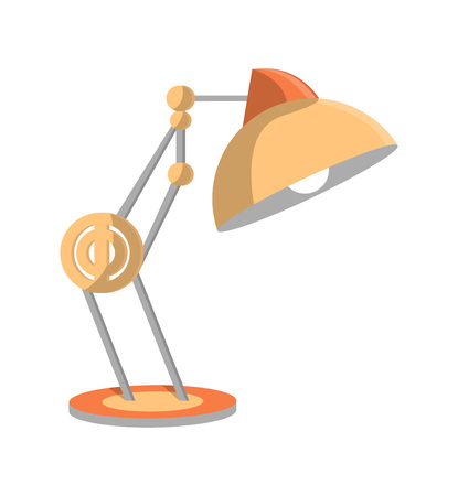 Desk light lamp icon in flat style. Office or home interior energy furniture, electric equipment. Isolated on white background vector illustration. Illustration