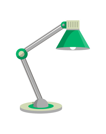 Old style desk lamp icon in flat style. Office or home interior energy furniture, electric equipment. Isolated on white background vector illustration.