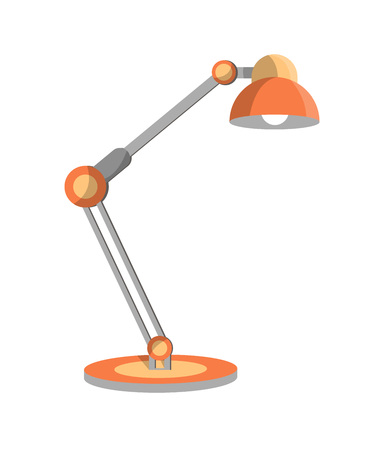 Classic desk lamp icon in flat style. Office or home interior energy furniture, electric equipment. Isolated on white background vector illustration.
