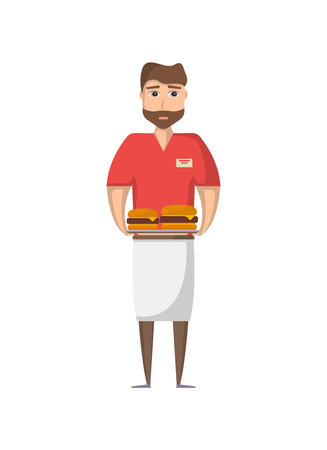Waiter man with food icon in flat style. Street fast food cafe element, restaurant takeaway menu vector illustration.