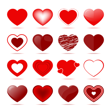 Red hearts icons in different style. Valentine day symbols for greeting card or gift design. Romantic love signs, elegant decoration collection isolated on white background vector illustration.