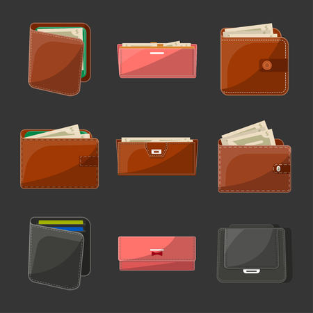 Various leather open or close purses, wallets and clutches for men and women with banknotes and credit cards. Business and banking, money success and financial safety. Isolated vector illustrations.