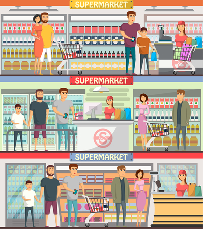 Young Couple Shopping At Supermarket Banner. Retail Cashier In ...
