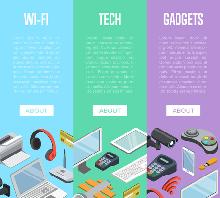 Wireless gadgets and computer devices isometric posters with laptop, tablet PC, usb drive, gamepad, headphones, wireless network router, pos terminal. Modern technology and communication vector illustration. Illustration