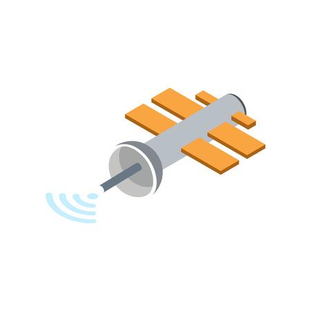 Orbital communication satellite isolated icon. Astronautics and space technology object, spacecraft vector illustration in flat design. Illustration