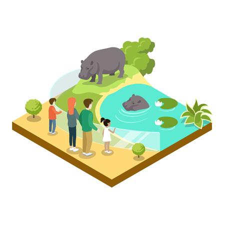 Cage with hippopotamus isometric 3D icon. Public zoo vector illustration.