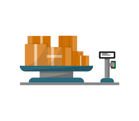 Packing boxes on warehouse weigher icon. Delivery service, logistic company vector illustration isolated on white background.