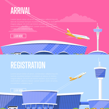 Airplane arrival and airport registration flyers. International airline advertising, touristic air tour. Glassy passenger air terminal with flight control tower and plane arrivals vector illustration.