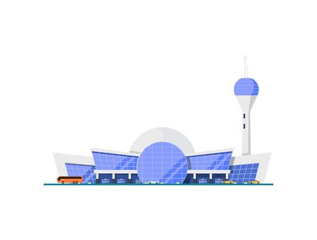 Modern glassy airport terminal element. Air passenger terminal with flight control tower vector illustration. Ilustração