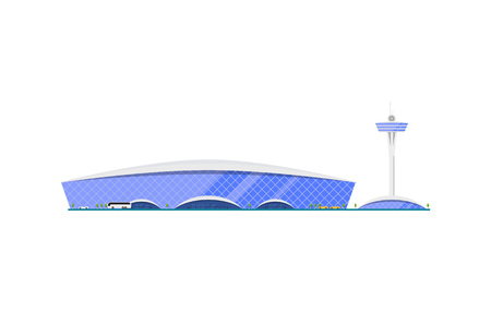Trendy glassy airport terminal with flight control tower. Air passenger infrastructure vector illustration.