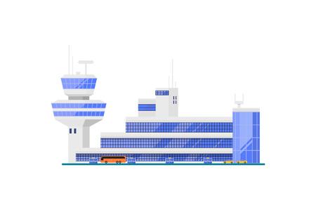 비행 제어 타워 공항 터미널입니다. 현대 항공 승객 인프라 벡터 일러스트 레이 션. 전세계 여행, 항공 운송 사업, 상업 항공사.