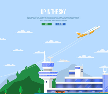 Up in the sky concept with airplane takeoff. Travel agency advertising, worldwide commercial airline poster. Modern international passenger air terminal with flight control tower vector illustration. Illustration