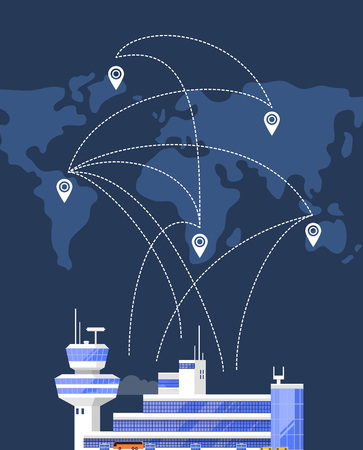 Modern international airport building. Glassy passenger air terminal with flight control tower on background of world map with air routes vector illustration. Worldwide commercial airline poster.