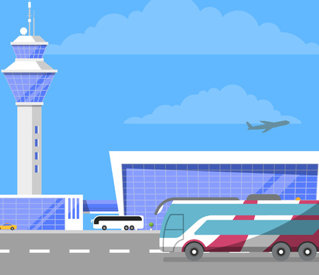 Modern international airport building with flight control tower. Passenger bus on road near glassy air terminal vector illustration. Worldwide commercial airline, airport infrastructure poster.
