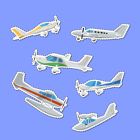 Propeller airplanes isolated labels. Private turbo propeller aircraft, passenger plane, hydroplane, speedy sport aeroplane, flying boat. Side view screw aircraft, small aviation vector illustration. Çizim