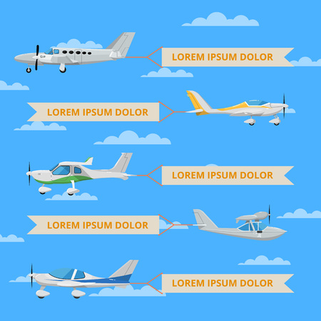 Propeller airplanes with banners in sky. Private propeller aircraft, passenger plane, hydroplane, speedy sport aeroplane, flying boat. Side view screw aircraft, small aviation vector illustration. Çizim