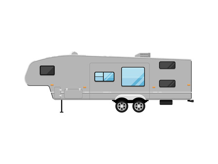 Big modern travel trailer isolated on white icon. Mobile home for country and nature vacation. Side view recreational vehicle van vector illustration in flat syle.