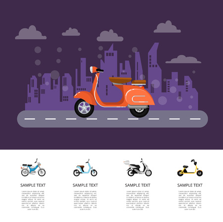 Old style moped on road poster in flat style. Vintage city motorbike on cityscape background. Personal mobility and transportation, urban compact scooter, vehicle sale proposition vector illustration.