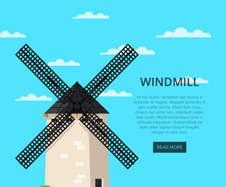 Stony old windmill building on cloudy blue sky background. Medieval european tourist attraction vector illustration. Clean energy, organic agricultural production, ecological flour manufacturing.