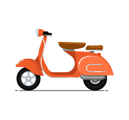 Vintage scooter isolated on white icon. Classic motorbike, city motorcycle, delivery moped. Personal transport vehicle vector illustration.