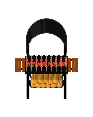 Barbecue grill with grilled kebabs isolated icon. Outdoor cooking equipment with assorted delicious food vector illustration.