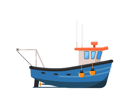 Vintage fishing trawler isolated on white icon. Side view commercial fishing vessel for industrial seafood production vector illustration.