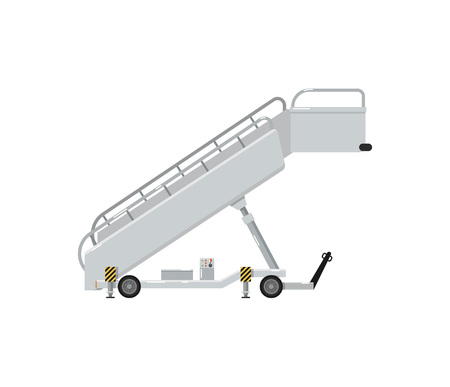 Passenger ladder for plane boarding isolated on white icon. Airport ground technics, aviation terminal logistics and infrastructure equipment vector illustration.
