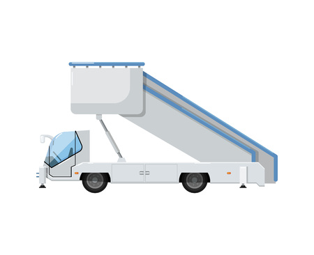 Passenger ladder truck or gangway for plane boarding isolated on white icon. Airport ground technics, aviation terminal logistics and infrastructure equipment vector illustration.