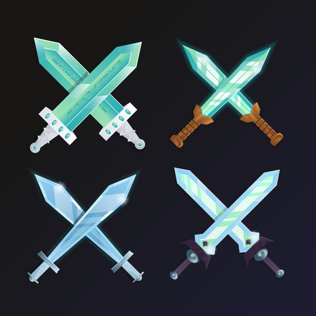 Set of cartoon medieval crossed swords. Confrontation versus sign, fight opposition concept, fantasy battle competition vector illustration. Collection of decoration weapon for computer game design. Illustration