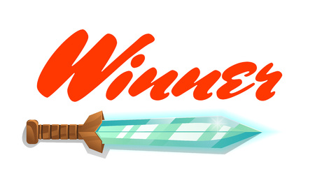 Winner game element with sword. Fantasy battle competition vector illustration. Cartoon medieval weapon for computer game design.